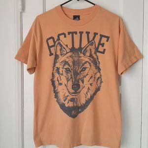 Active Wolf Graphic T Shirt Golden Yellow Men's M